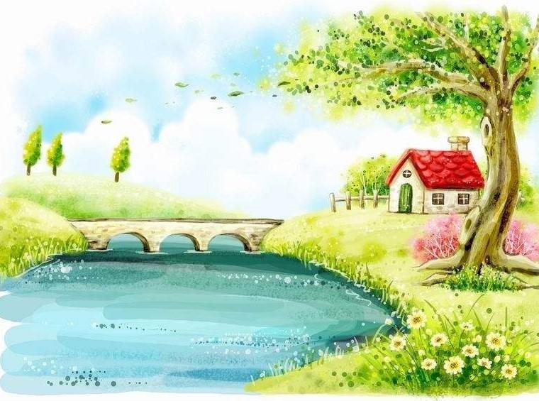 小河背景矢量图片