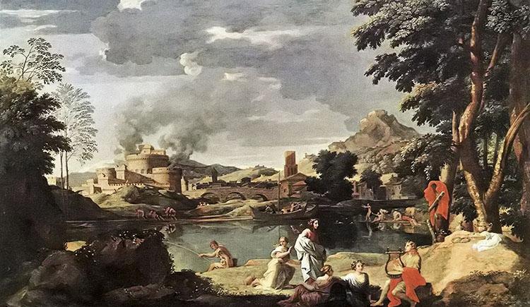 尼古拉斯·普桑作品有俄耳莆斯和欧律狄刻的风景