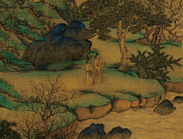 唐代 李思训《江帆楼阁图》局部3:一边欣赏风景,一边畅谈人生与理想