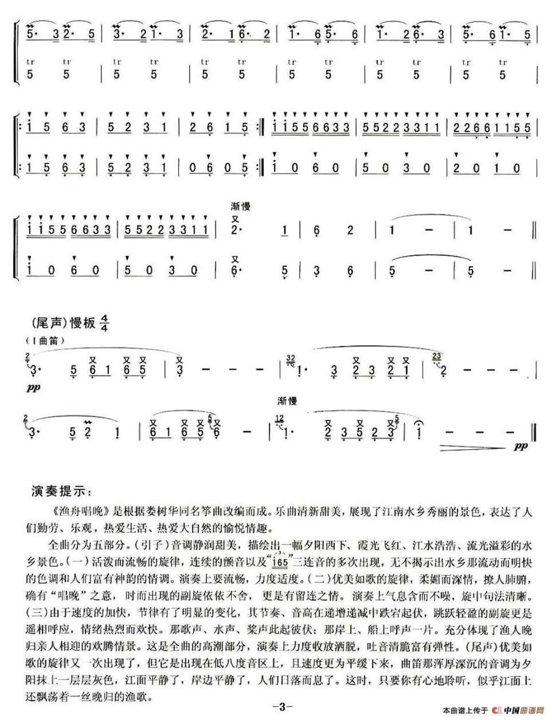 笛子曲|渔舟唱晚 石磊老师笛子独奏  简谱参照