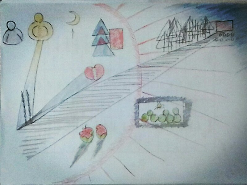 画画-画一幅抽象画(一)  点评:浪漫的朋友,素描点线面有啦,黑白灰弱