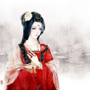 古风皇后手绘铅笔画